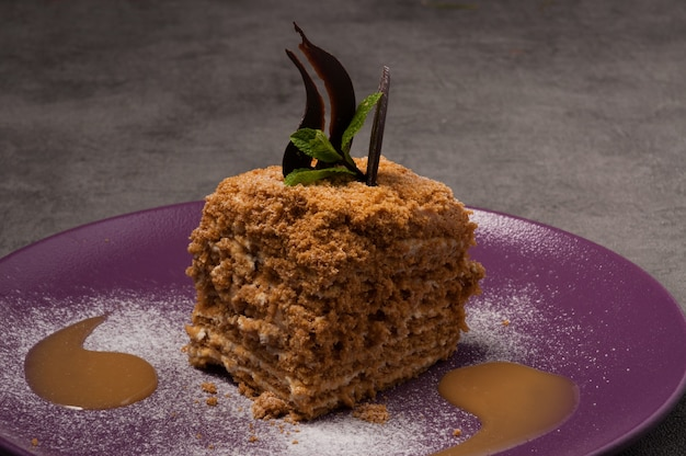 Медовик, украшенный шоколадом, мятой и соусом