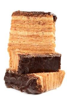 고립 된 세부 사항을 가까이 초콜릿 꿀 케이크