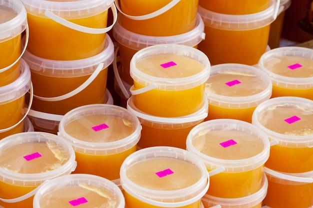 Honey  on counter of market