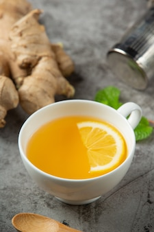 Honey lemon ginger juice food and beverage products from ginger extract food nutrition concept.