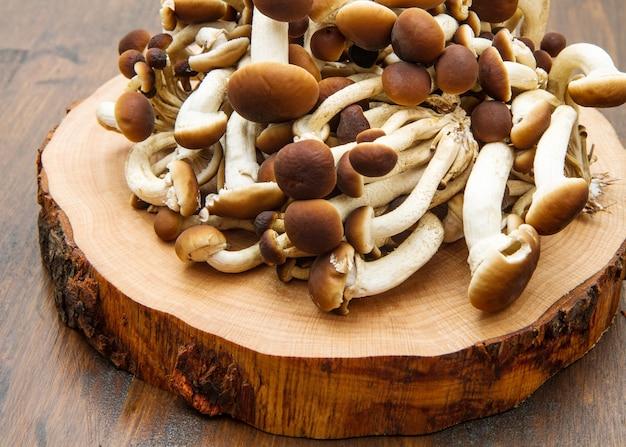 나무 테이블에 꿀 버섯