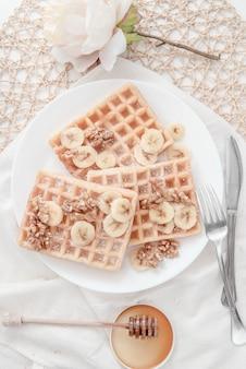 Honey nut banana waffle breakfast