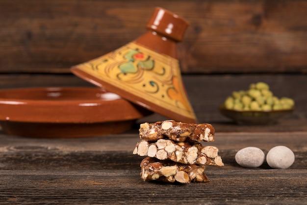Honey nut bar on table