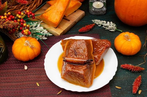 Honey pumpkin traditional dessert of the dia de muertos celebration