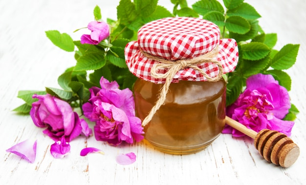 Honey and rose flowers