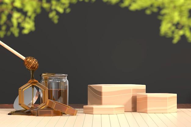 Медовый сироп и деревянный фон баннера платформы
