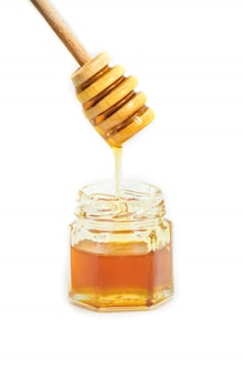 Honey on a white background. selective focus. food.