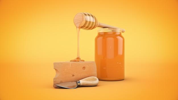 チーズと蜂蜜の3dレンダリング