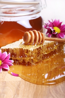 Honey on the wooden table