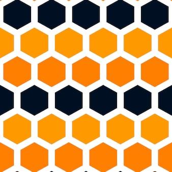 ハニカム六角形ハロウィーン色シームレスパターン背景