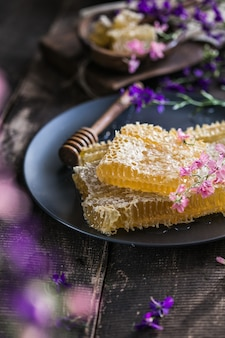 Honeycomb summer composition consisting of gooey honey from bee village
