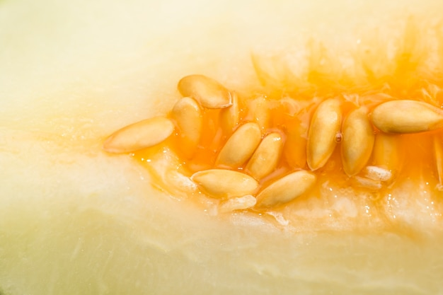 Honeydew melon with seeds close-up