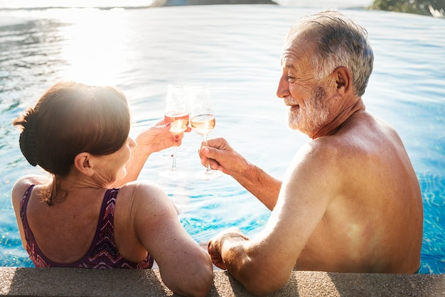 A honeymoon couple enjoying summertime