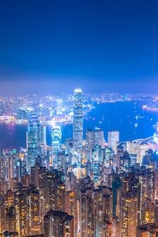 香港建築景観スカイラインナイトビュー