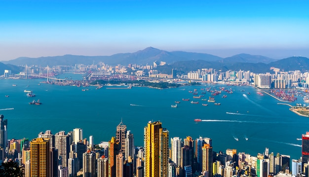 Hong kong city skyline and architectural landscape