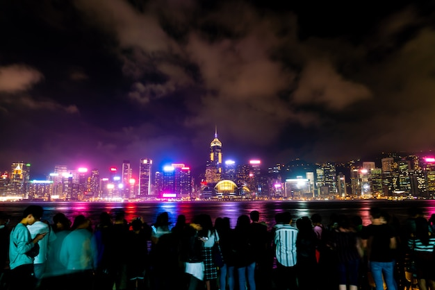 Hong kong city skyline at night and light up