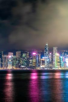 Hong kong city skyline at night and light up