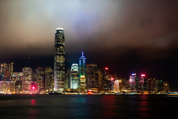 Hong kong city skyline at night and lights up