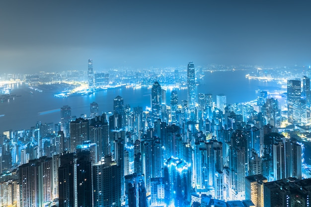 Hong kong city skyline at sunrise.