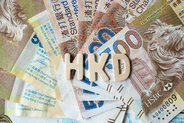 Hong kong currency banknotes, hk dollars for business background