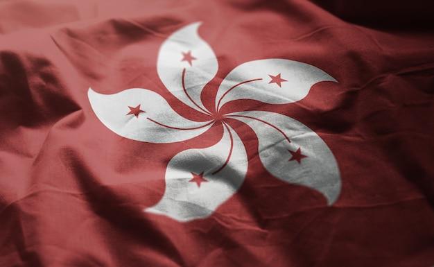 しわくちゃになっている香港の旗