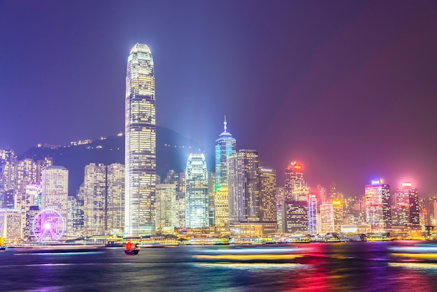 Hong kong - october 14, 2015: hong kong skyline on october 14 in