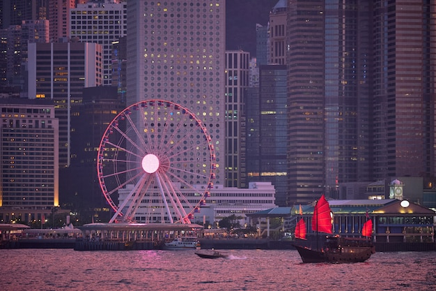 香港のスカイライン。香港、中国
