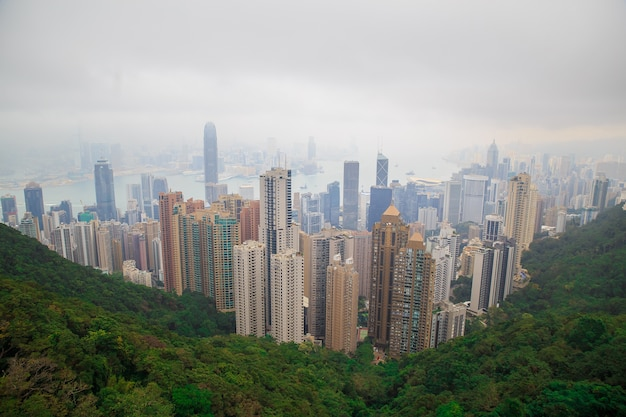 Hong kong skyline with the mist. view from victoria peak.