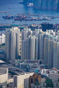 Hong kong victoria harbor city landscape, business downtown urban with skyline building tower, asia district scene of skyscraper architecture view to travel