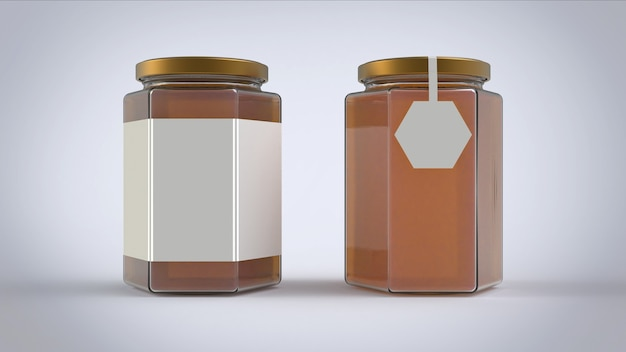 Honney jars with white paper label on white