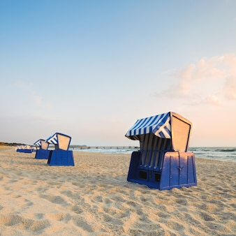 Hooded beach chairs on island rugen