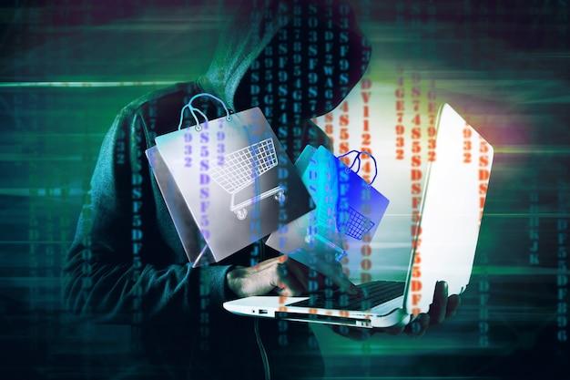 Hooded hacker shopping online