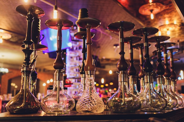 The hookah on the bar counter in a cafe.