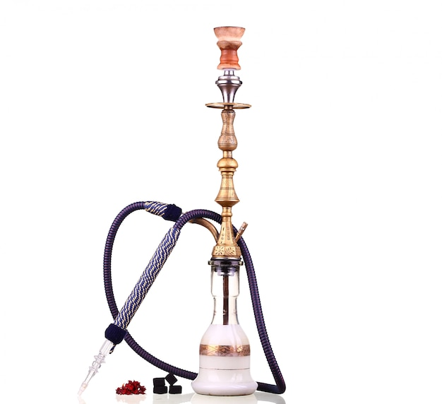 Hookah isolated on white. water pipe, hookah tobacco, coal, charcoal