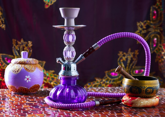 Hookah shisha smoke and singing bowl
