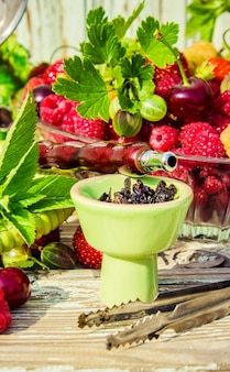 Hookah, tobacco flavor of the berries. selective focus.