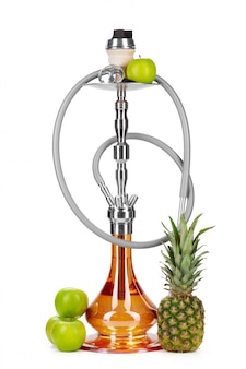 Hookah with fruits isolated on white background