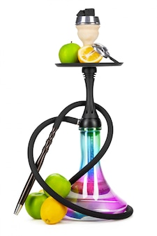 Hookah with fruits isolated on white