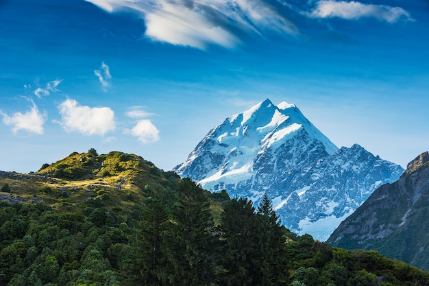 Hooker valley track shows the peak of mount cook in canterbury, new zealand covered in sno