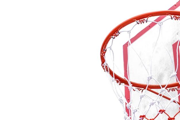 흰색 배경 세부 개체에 고립 된 행에서 후프 농구