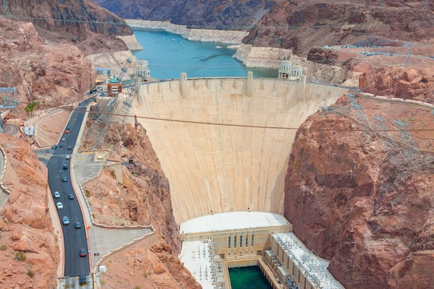 Hoover dam on arizona and nevada border in united states of america.