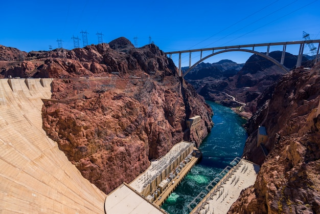 Hoover dam, in the black canyon of the colorado river, on the border between the u.s. states of nevada and arizona.
