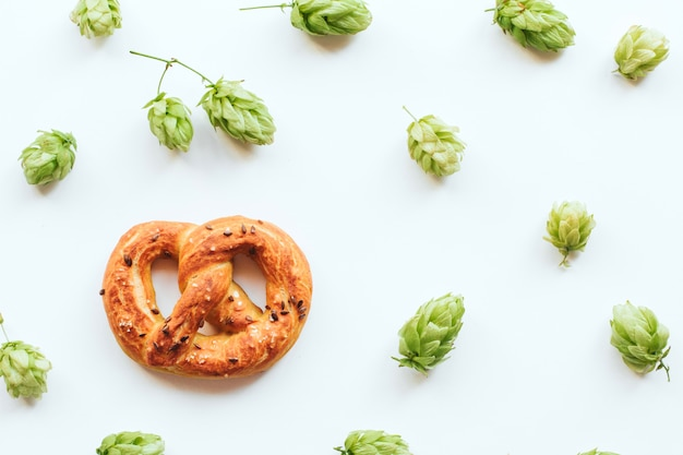 Hop cones and pretzels on white