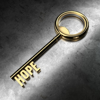 Hope - golden key on black metallic background. 3d rendering