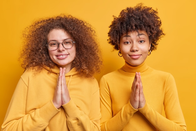 곱슬 머리를 가진 희망적인 다양한 젊은 여성들이 간청 한 표정으로 자비의 모습을 간청하며 손바닥을 함께 눌렀을 때 도움을 요청 노란색 벽 위에 고립 된 서로 밀접하게 서 있습니다