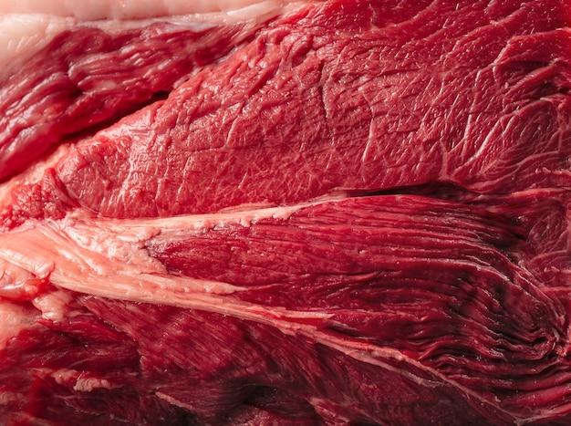 Horizontal closeup of fresh raw meat round texture