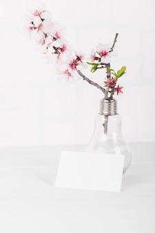 피 아몬드 나무 가지와 가로 빈 카드 모형