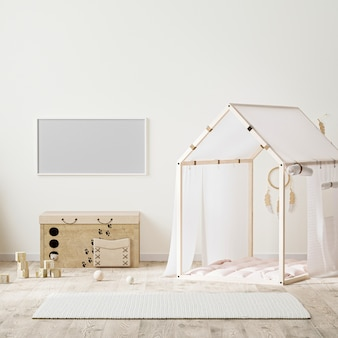 Horizontal frame in  indian style kids room interior with tent, childrens chest of drawers and toys, 3d rendering