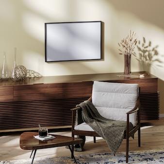 거실 내부의 수평 프레임, 커피 테이블과 장식이 있는 아늑한 안락의자, 생활 환경, 홈 인테리어, 3d 렌더링