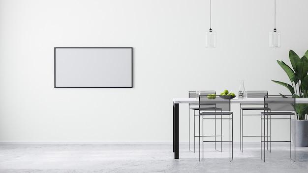 현대적인 바 테이블과 바 의자, 스칸디나비아 미니멀리즘 스타일, 3d 렌더링을 갖춘 현대적인 밝은 흰색 실내에서 수평 프레임을 조롱합니다.